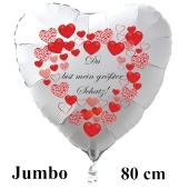 """Großer Herzluftballon in Weiß """"Du bist mein größter Schatz!"""" zum Valentinstag mit roten Herzen"""