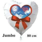 """Großer Herzluftballon in Weiß """"Du bist mein Sonnenschein!"""" zum Valentinstag"""