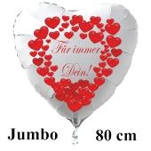 """Großer Herzluftballon in Weiß """"Für immer Dein!"""" zum Valentinstag"""