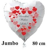 """Großer Herzluftballon in Weiß """"Undendlich! Wahre Liebe! zum Valentinstag"""