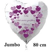 """Großer Herzluftballon in Weiß """"Du bist mein größter Schatz!"""" zum Valentinstag"""