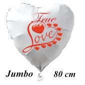 Großer Herzluftballon in Weiß True Love zum Valentinstag