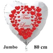 """Großer Herzluftballon in Weiß """"True Love!"""" zum Valentinstag mit roten Herzen"""