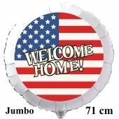 Großer Welcome Home USA Luftballon aus Folie, 71 cm Rundballon mit Helium-Ballongas