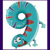 Riesenzahl Luftballon aus Folie, Zahl 9, Eidechse, zum 9. Kindergeburtstag
