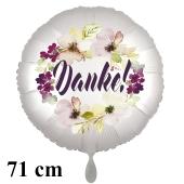 Danke. Rundluftballon aus Folie, satin-weiß-flowers, 71 cm