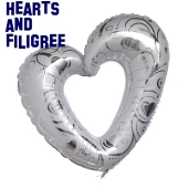 Großes Herz, Folienballon, Hearts and Filigree, Weiß