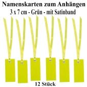 Tischkarten Grün mit Satinband, 12 Stück