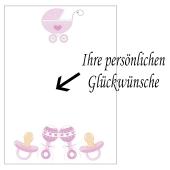 Grusskarte, Babysachen Mädchen zu Taufe, Babyparty und Geburt