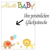 Grusskarte, Hallo Baby zu Taufe, Babyparty und Geburt