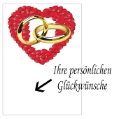 Grußkarte mit Herz aus Rosenblättern und Eheringen zur Hochzeit