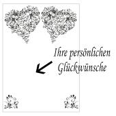 Grußkarte mit Herzen aus Ornamenten zur Hochzeit