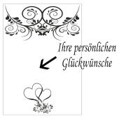 Grußkarte mit florale Ornamenten und Herzen zur Hochzeit
