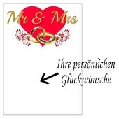 Grußkarte Mr and Mrs mit Trauringen zur Hochzeit
