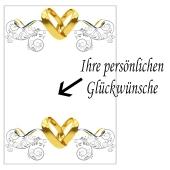 Grußkarte mit Trauringe und Ornamenten zur Hochzeit