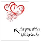 Grußkarte mit verbundene Herzen in Rot zur Hochzeit und Rosenhochzeit