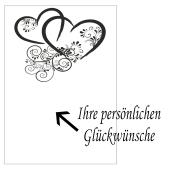 Grußkarte mit verbundene Herzen in Schwarz zur Hochzeit und Rosenhochzeit