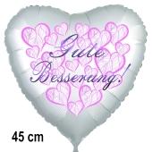 Gute Besserung! Herzballon, Hearts, aus Folie, 45 cm, mit Ballongas