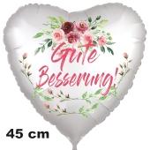 Gute Besserung! Herzballon mit Blumen und Blüten aus Folie, 45 cm, mit Ballongas