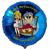 Gute Besserung, Luftballon aus Folie mit Ballongas, Krankenschwester und Patient