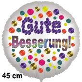 Gute Besserung! Ballon mit bunten Punkten aus Folie, 45 cm, mit Ballongas