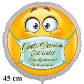 Gute Besserung in 4 Sprachen Smiley mit Mundschutz, runder Luftballon, 45 cm, ohne Helium