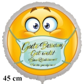 Gute Besserung in 4 Sprachen Luftballon, Smiley mit Mundschutz, 45 cm groß, inklusive Ballongas-Helium