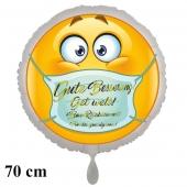 Gute Besserung in 4 Sprachen Smiley mit Mundschutz, runder Luftballon, 70 cm, ohne Helium