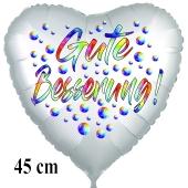 Gute Besserung! Herzballon, Regebogenfarben, aus Folie, 45 cm, mit Ballongas