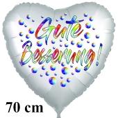 Gute Besserung! Herzballon, Regebogenfarben, aus Folie, 70 cm, mit Ballongas