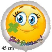 Gute Besserung, Smiley mit Pflaster, runder Luftballon, satinweiß, 45 cm, ohne Helium