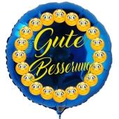 Gute Besserung mit Smileys, runder, blauer Luftballon, 45 cm, ohne Helium