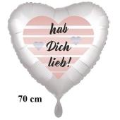 Hab Dich lieb! Herzluftballon aus Folie, 70 cm, satinweiss, ohne Helium