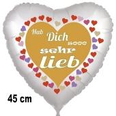 Hab Dich sooo sehr lieb, Herzluftballon aus Folie, 45 cm, satin, mit Helium