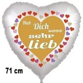 Hab Dich sooo sehr lieb, Herzluftballon aus Folie, 71 cm, satin, mit Helium