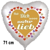 Hab Dich sooo sehr lieb, Herzluftballon aus Folie, 71 cm, satin, ohne Helium