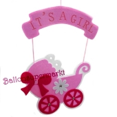 Filzhänger Dekoration, It's a Girl Kinderwagen, Rosa