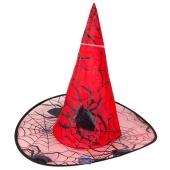 Hexenhut, rot mit Spinnweben zu Halloween