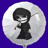 Halloween Luftballon aus Folie, weißer Rundballon mit Sensemann, inklusive Helium