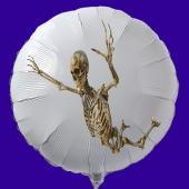 Halloween Luftballon aus Folie, weißer Rundballon mit Skelett, inklusive Helium