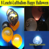 Halloween Party Set, 8 LED Leucht-Luftballons Happy Halloween