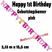 Banner Happy 1st Birthday, pink
