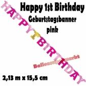 Banner Happy 1st Birthday, pink