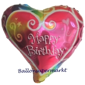 Happy Birthday Herzluftballon in Wasserfarben, Ballon zum Geburtstag inklusive Helium