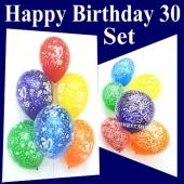 zum 30. Geburtstag, Set aus Happy Birthday und Zahlen-Luftballons mit Heliumflasche, Geburtstagsdekoration