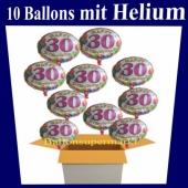 Luftballons Zahl 30, Happy Birthday Balloons zum 30. Geburtstag, 10 Ballons mit Helium zum Versand im Karton auf die Geburtstagsparty
