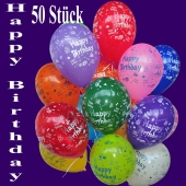 Happy Birthday Geburtstag Luftballons, 50 Stück, bunt gemischt