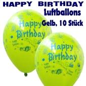 Happy Birthday Motiv Luftballons, Latexballons zum Geburtstag, 10 Stück, Gelb