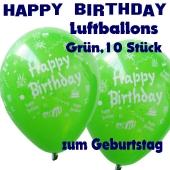 Happy Birthday Motiv Luftballons, Latexballons zum Geburtstag, 10 Stück, Grün