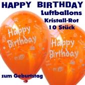 Happy Birthday Motiv Luftballons, Latexballons zum Geburtstag, 10 Stück, Kristall-Rot